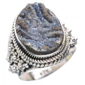 Black Agate Druzy Ring